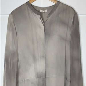 Aritzia Wilfred Silk Button Blouse - Grey Tie-Dye
